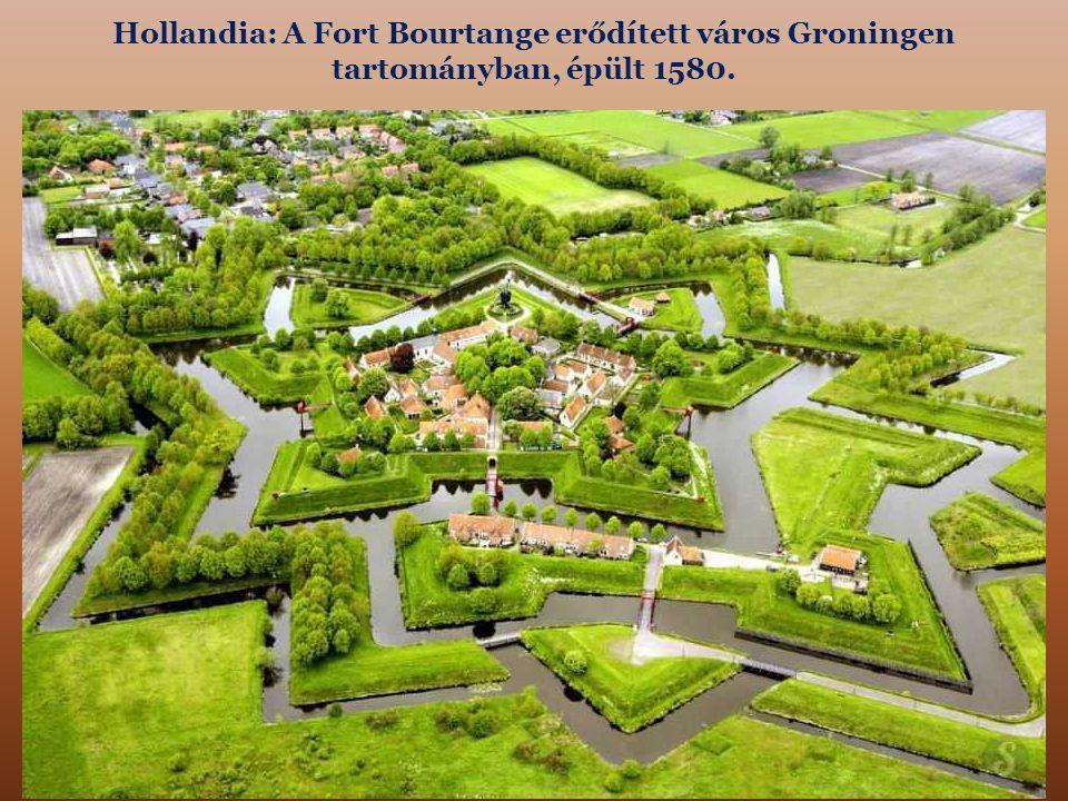 Hollandia: A Fort Bourtange erődített város Groningen tartományban, épült 1580.