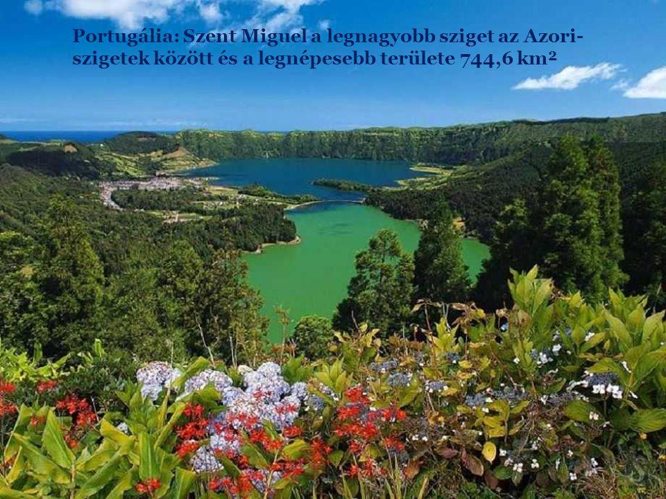 Portugália: Szent Miguel a legnagyobb sziget az Azori-szigetek között és a legnépesebb területe 744,6 km²