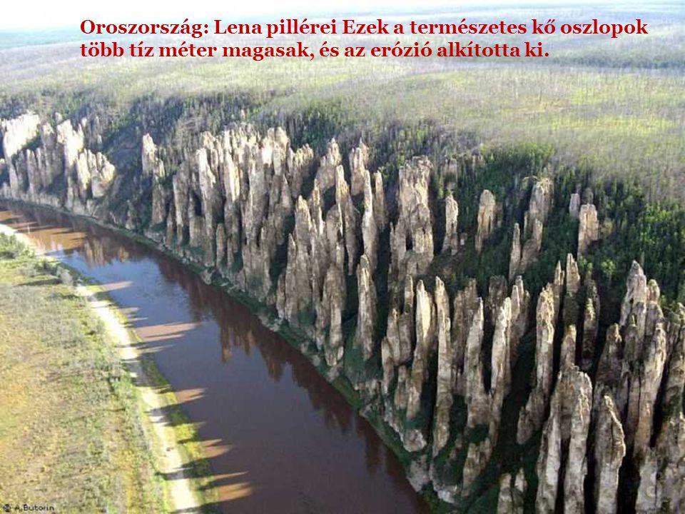 Oroszország: Lena pillérei Ezek a természetes kő oszlopok több tíz méter magasak, és az erózió alkította ki.