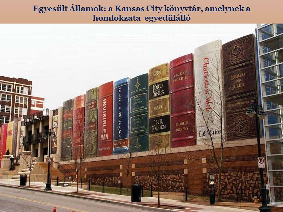 Egyesült Államok: a Kansas City könyvtár, amelynek a homlokzata egyedülálló