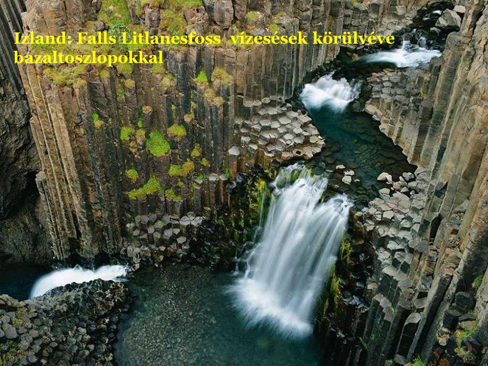 Izland: Falls Litlanesfoss vízesések körülvéve bazaltoszlopokkal