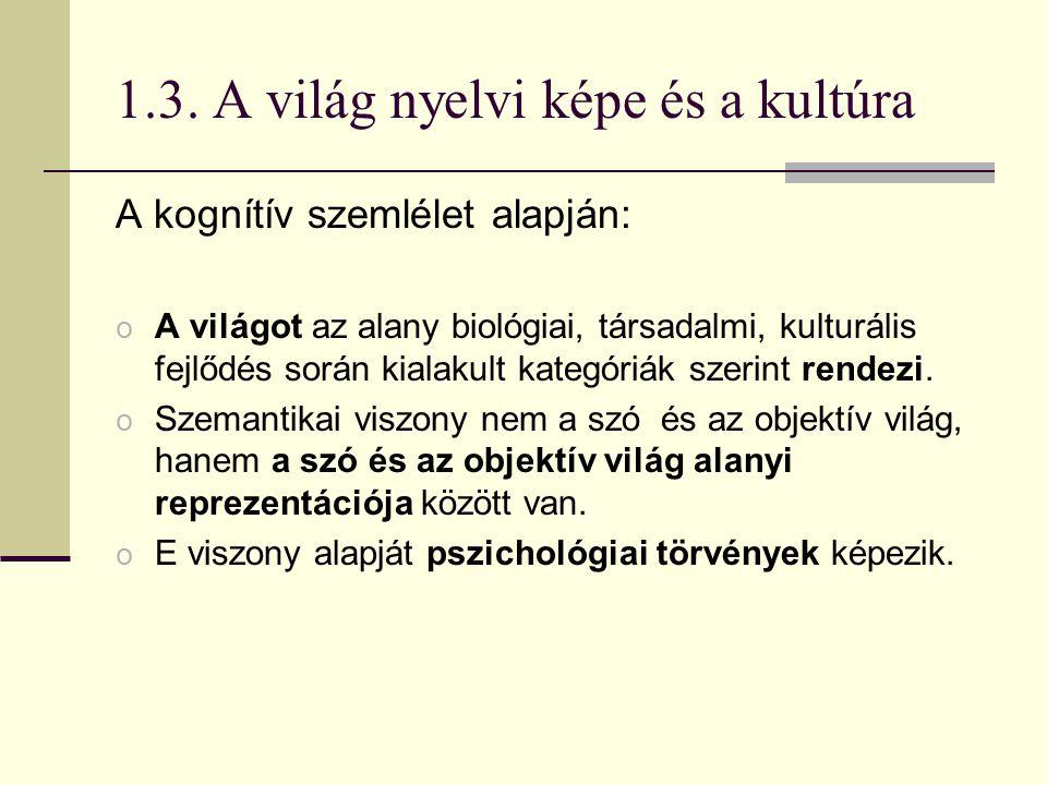 1.3. A világ nyelvi képe és a kultúra