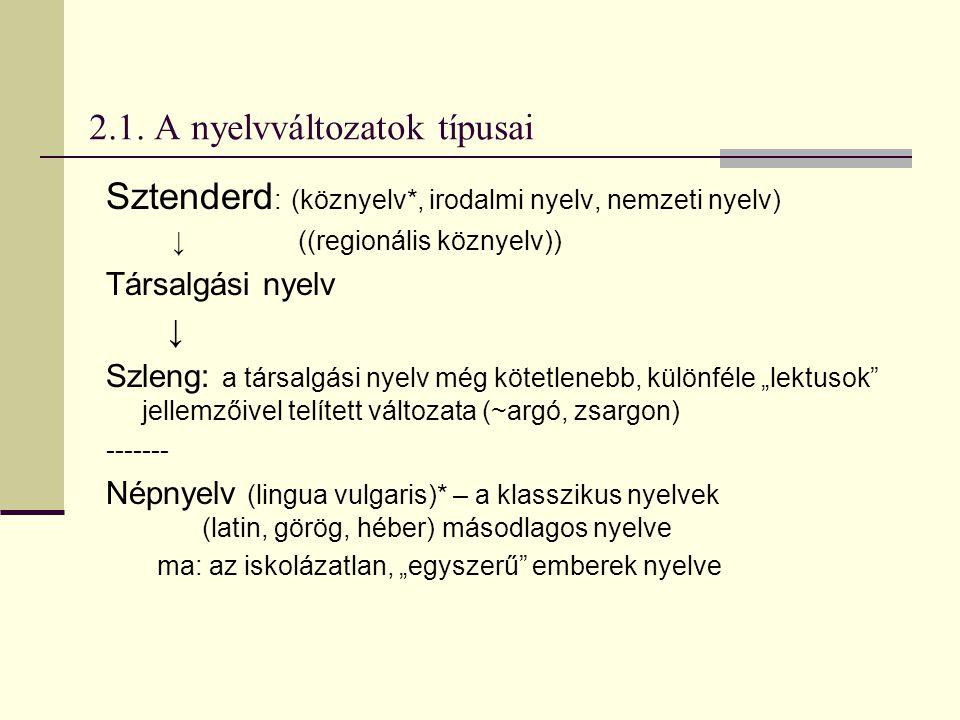 2.1. A nyelvváltozatok típusai