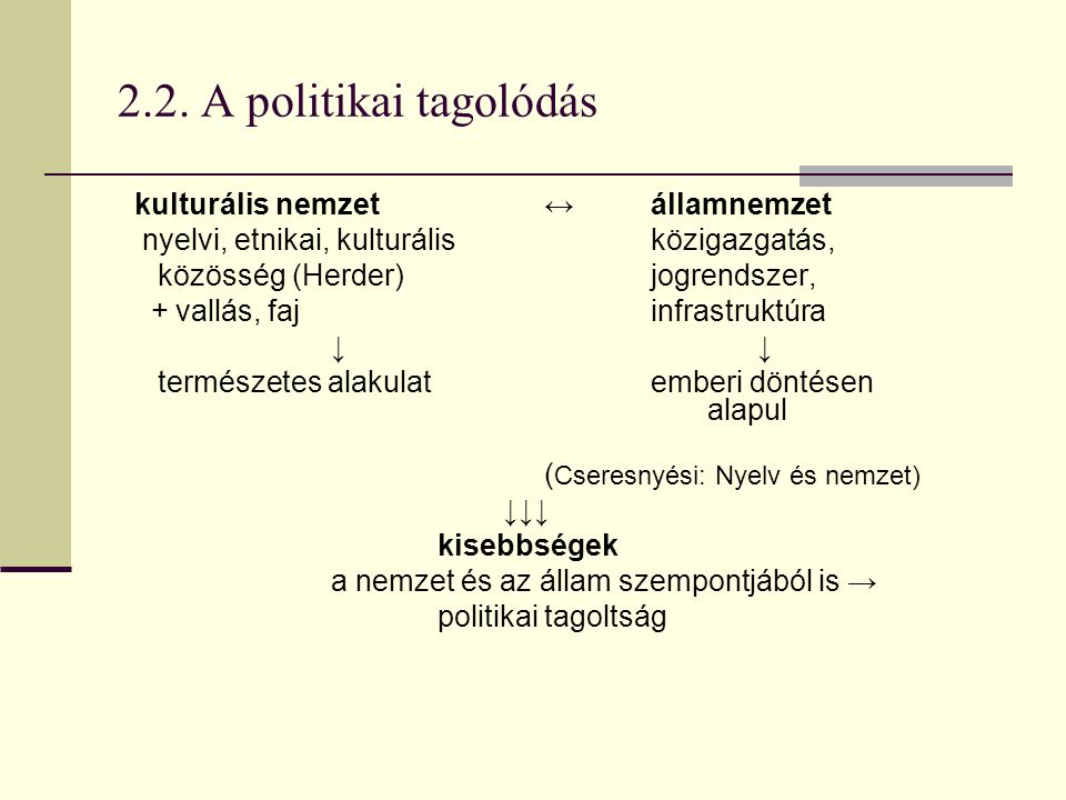 2.2. A politikai tagolódás nyelvi, etnikai, kulturális közigazgatás,