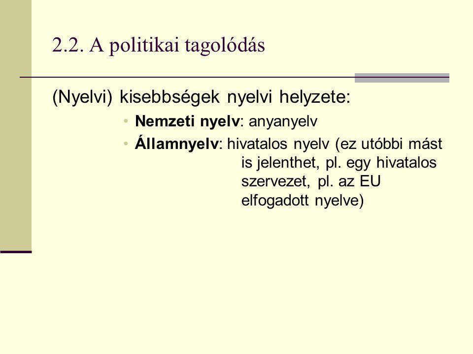 2.2. A politikai tagolódás (Nyelvi) kisebbségek nyelvi helyzete: