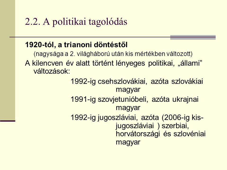 2.2. A politikai tagolódás 1920-tól, a trianoni döntéstől