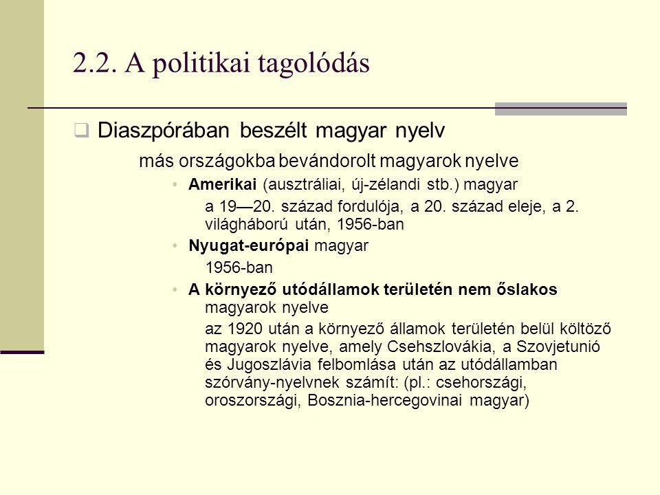 2.2. A politikai tagolódás Diaszpórában beszélt magyar nyelv