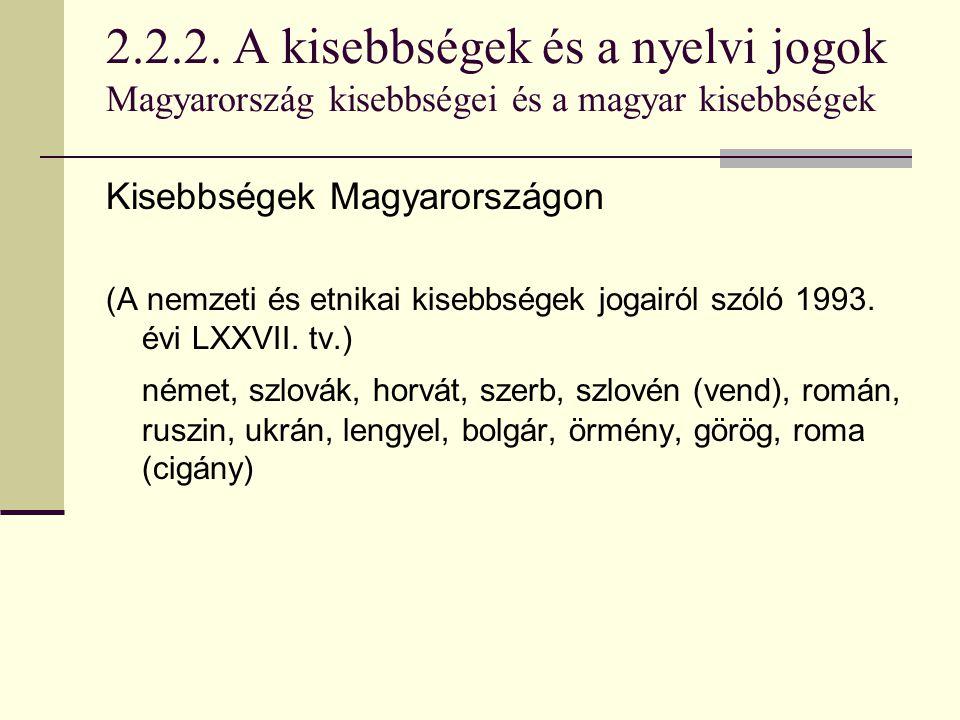 2.2.2. A kisebbségek és a nyelvi jogok Magyarország kisebbségei és a magyar kisebbségek