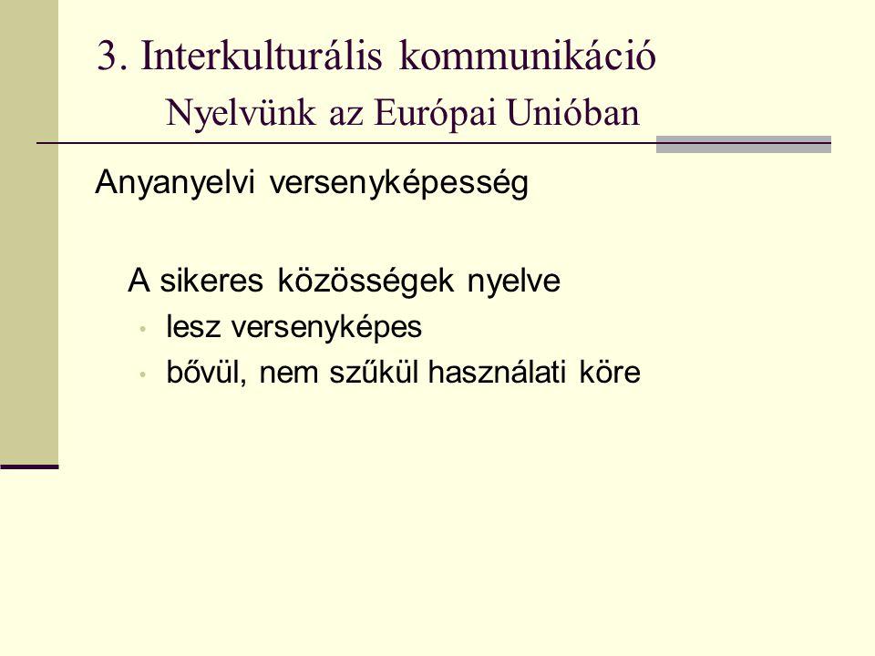 3. Interkulturális kommunikáció Nyelvünk az Európai Unióban