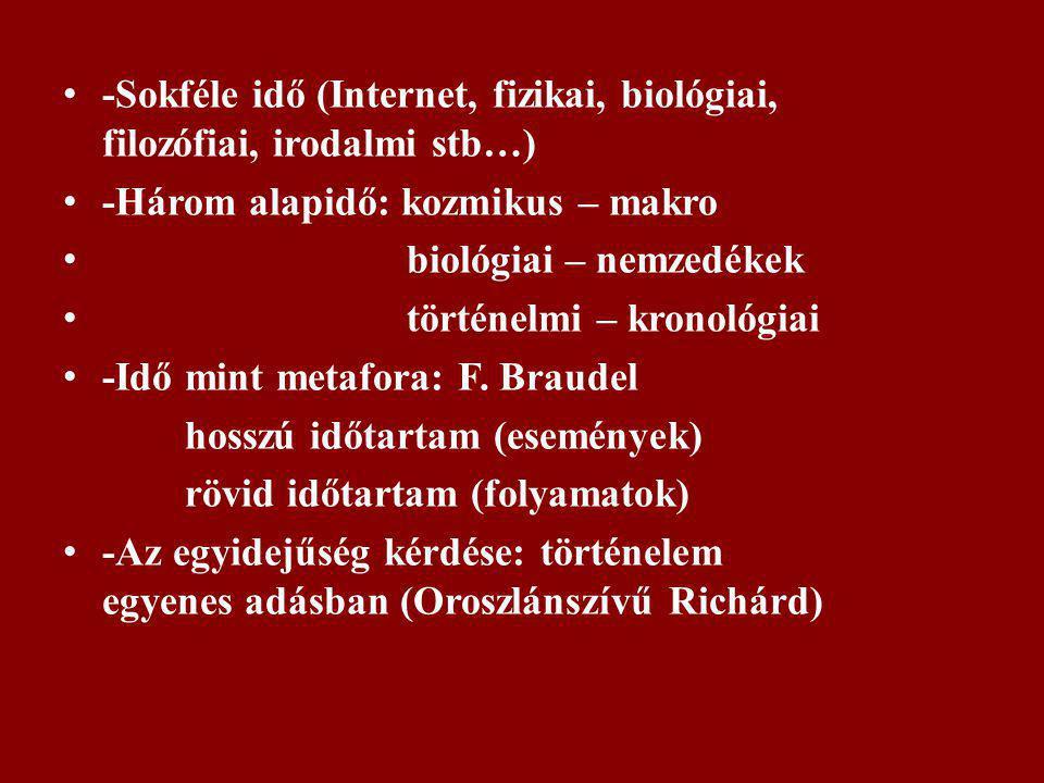 -Sokféle idő (Internet, fizikai, biológiai, filozófiai, irodalmi stb…)