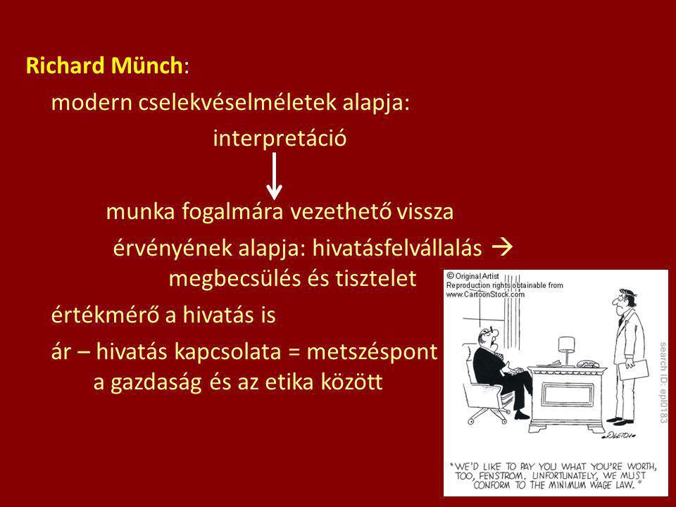 Richard Münch: modern cselekvéselméletek alapja: interpretáció munka fogalmára vezethető vissza érvényének alapja: hivatásfelvállalás  megbecsülés és tisztelet értékmérő a hivatás is ár – hivatás kapcsolata = metszéspont a gazdaság és az etika között