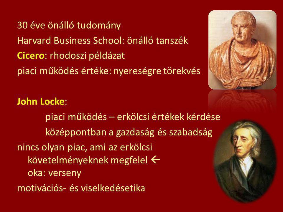 30 éve önálló tudomány Harvard Business School: önálló tanszék Cicero: rhodoszi példázat piaci működés értéke: nyereségre törekvés John Locke: piaci működés – erkölcsi értékek kérdése középpontban a gazdaság és szabadság nincs olyan piac, ami az erkölcsi követelményeknek megfelel  oka: verseny motivációs- és viselkedésetika