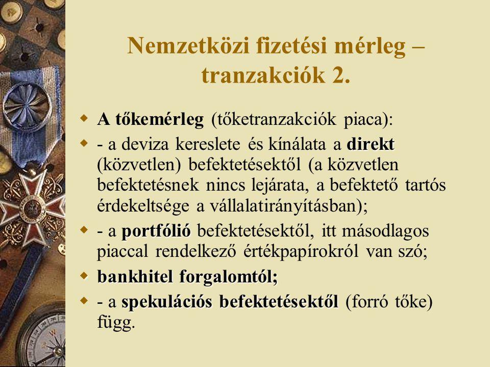 Nemzetközi fizetési mérleg –tranzakciók 2.