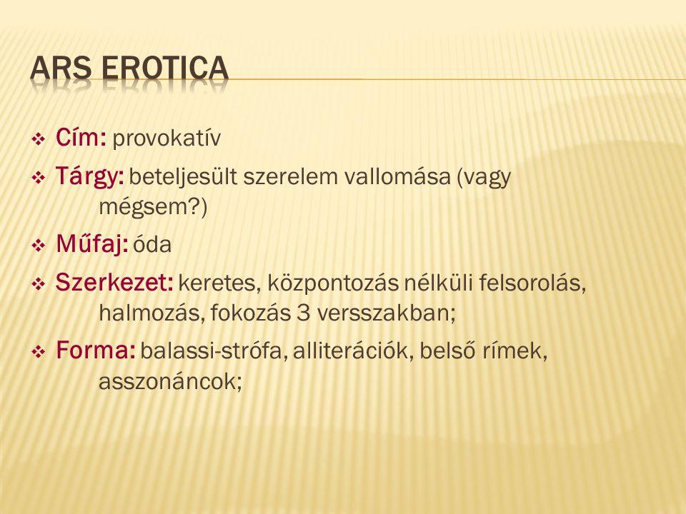Ars erotica Cím: provokatív