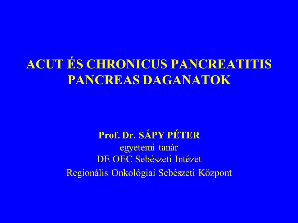 ACUT ÉS CHRONICUS PANCREATITIS PANCREAS DAGANATOK Prof. Dr