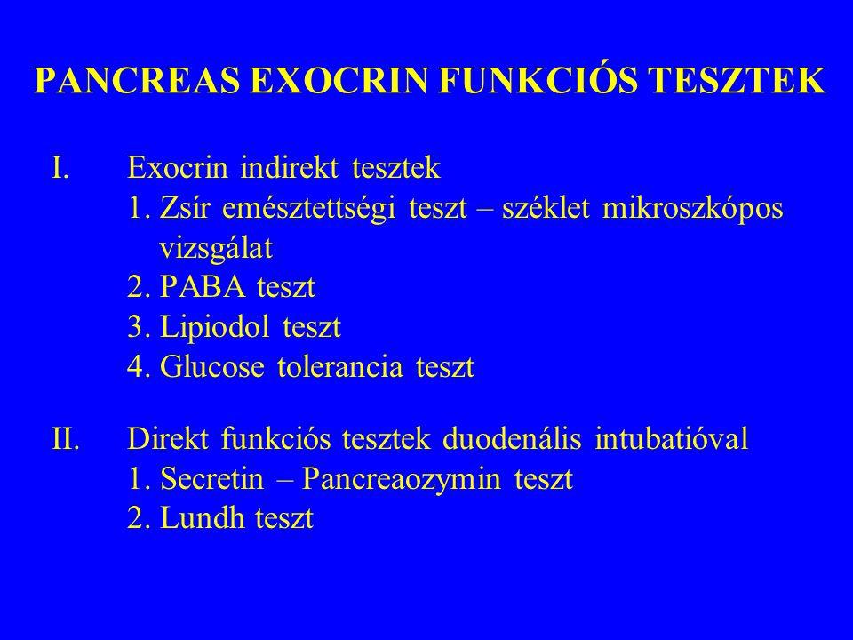 PANCREAS EXOCRIN FUNKCIÓS TESZTEK