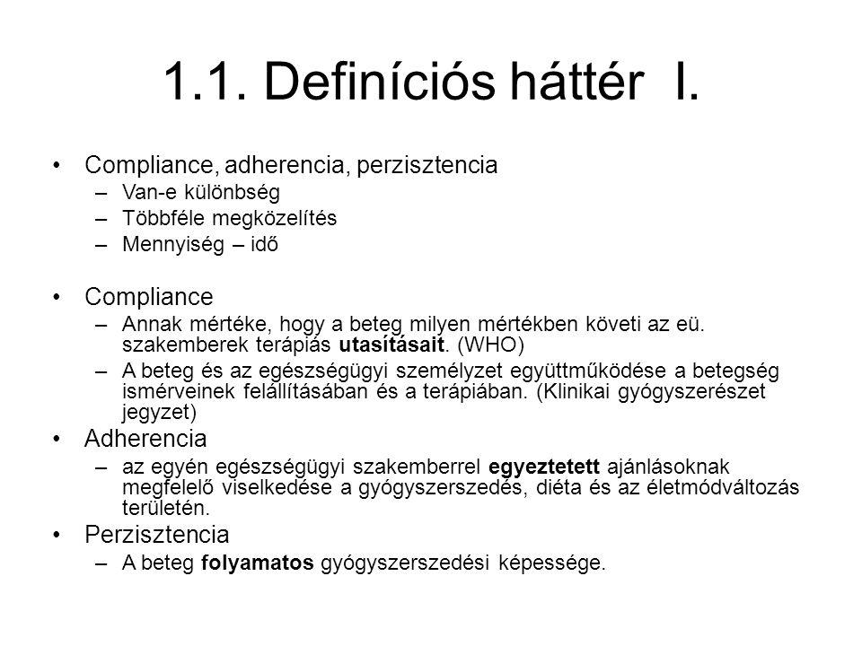 1.1. Definíciós háttér I. Compliance, adherencia, perzisztencia