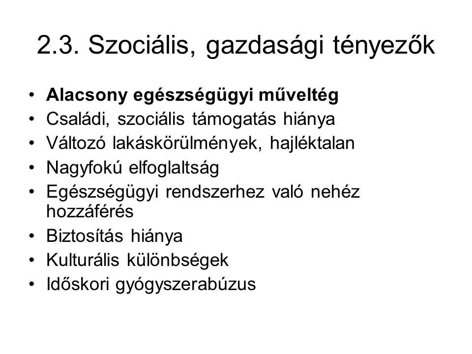 2.3. Szociális, gazdasági tényezők