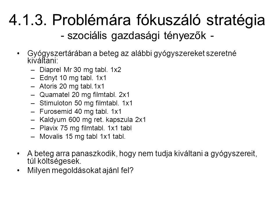 4.1.3. Problémára fókuszáló stratégia - szociális gazdasági tényezők -