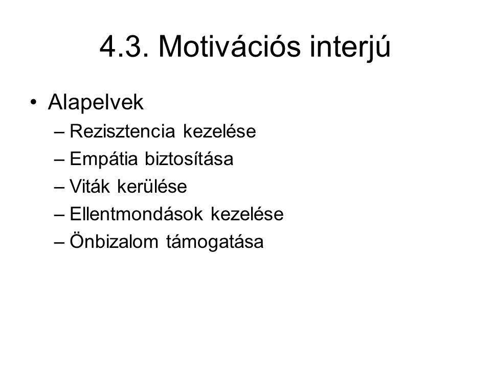 4.3. Motivációs interjú Alapelvek Rezisztencia kezelése