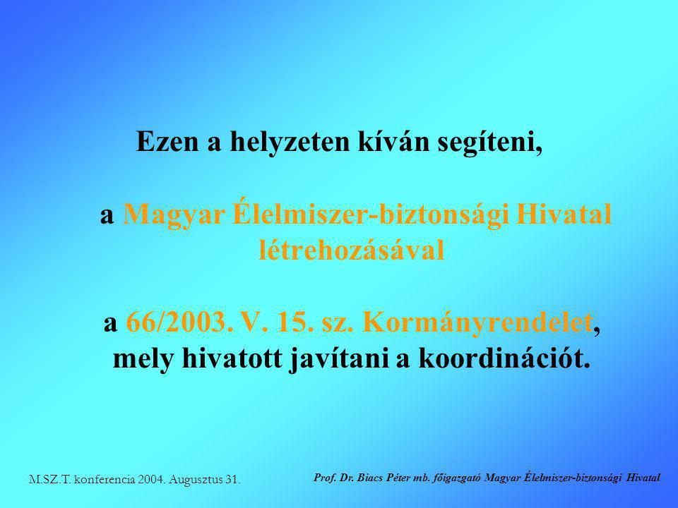 Ezen a helyzeten kíván segíteni, a Magyar Élelmiszer-biztonsági Hivatal létrehozásával a 66/2003. V. 15. sz. Kormányrendelet, mely hivatott javítani a koordinációt.