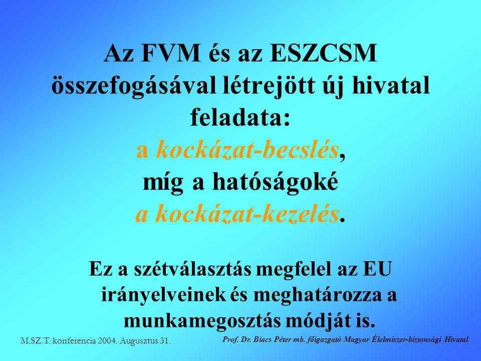 Az FVM és az ESZCSM összefogásával létrejött új hivatal feladata: a kockázat-becslés, míg a hatóságoké a kockázat-kezelés.