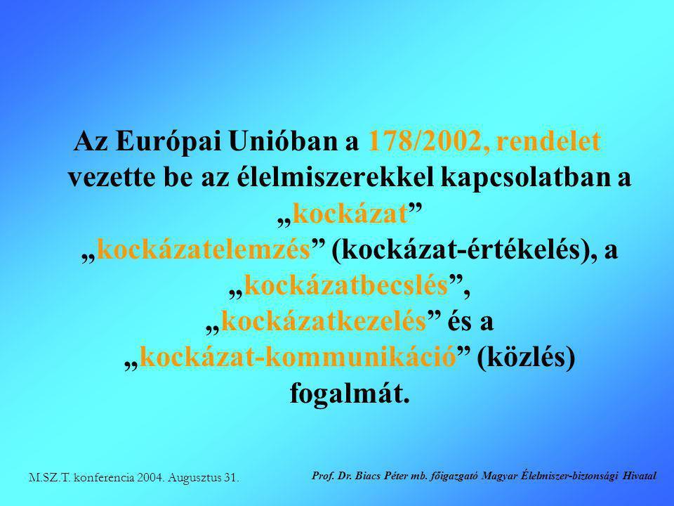 """Az Európai Unióban a 178/2002, rendelet vezette be az élelmiszerekkel kapcsolatban a """"kockázat """"kockázatelemzés (kockázat-értékelés), a """"kockázatbecslés , """"kockázatkezelés és a """"kockázat-kommunikáció (közlés) fogalmát."""