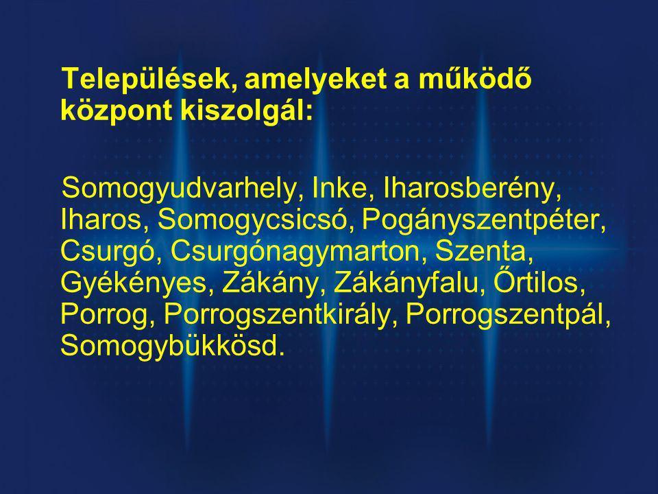 Települések, amelyeket a működő központ kiszolgál: