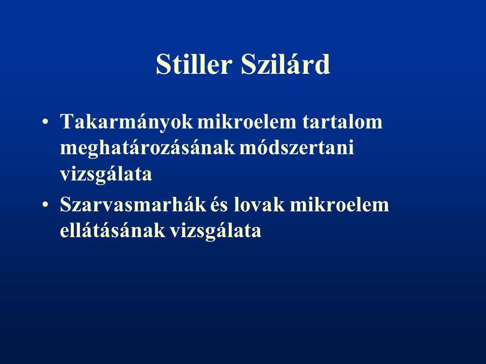 Stiller Szilárd Takarmányok mikroelem tartalom meghatározásának módszertani vizsgálata.