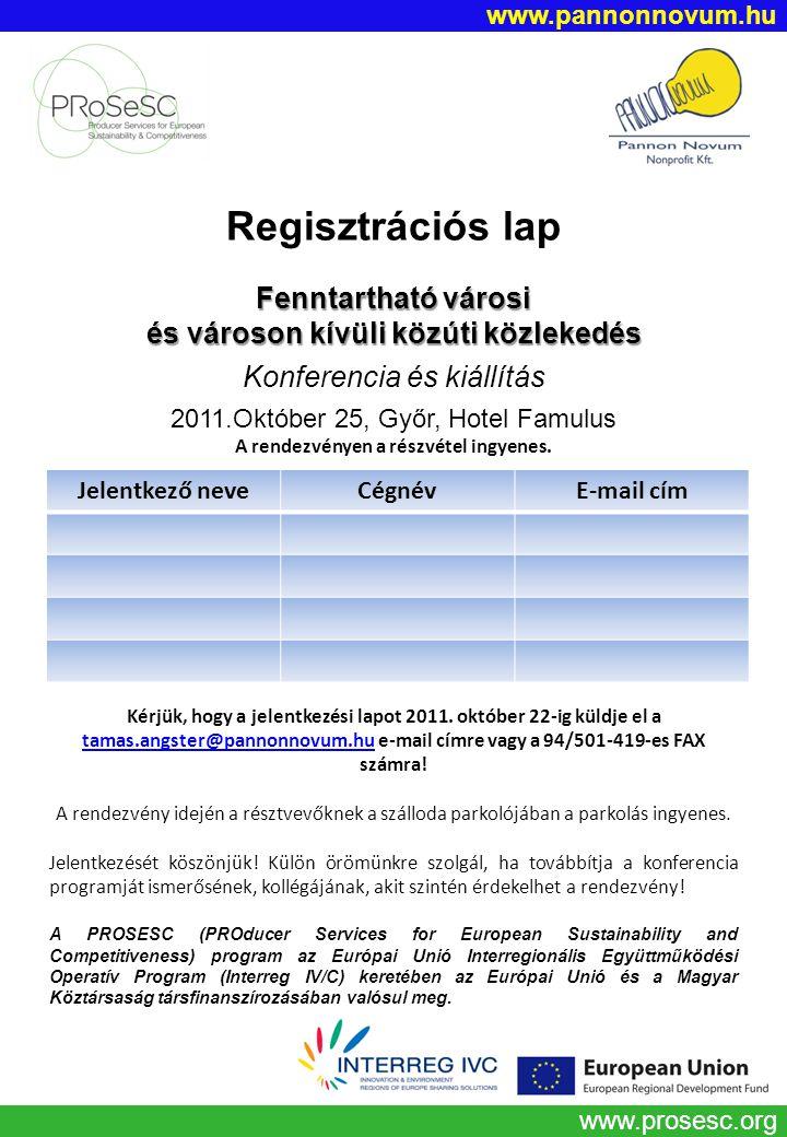 Regisztrációs lap Fenntartható városi