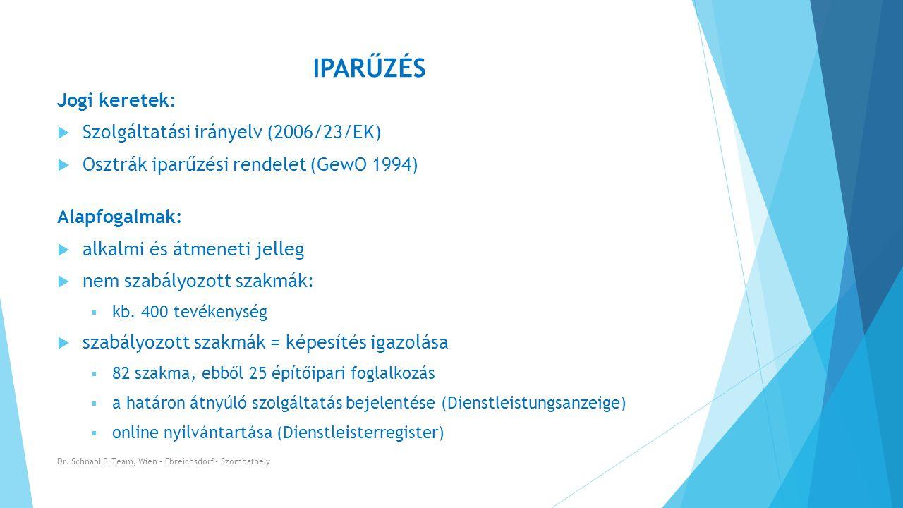 IPARŰZÉS Jogi keretek: Szolgáltatási irányelv (2006/23/EK)