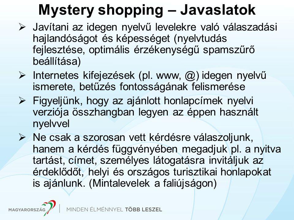 Mystery shopping – Javaslatok