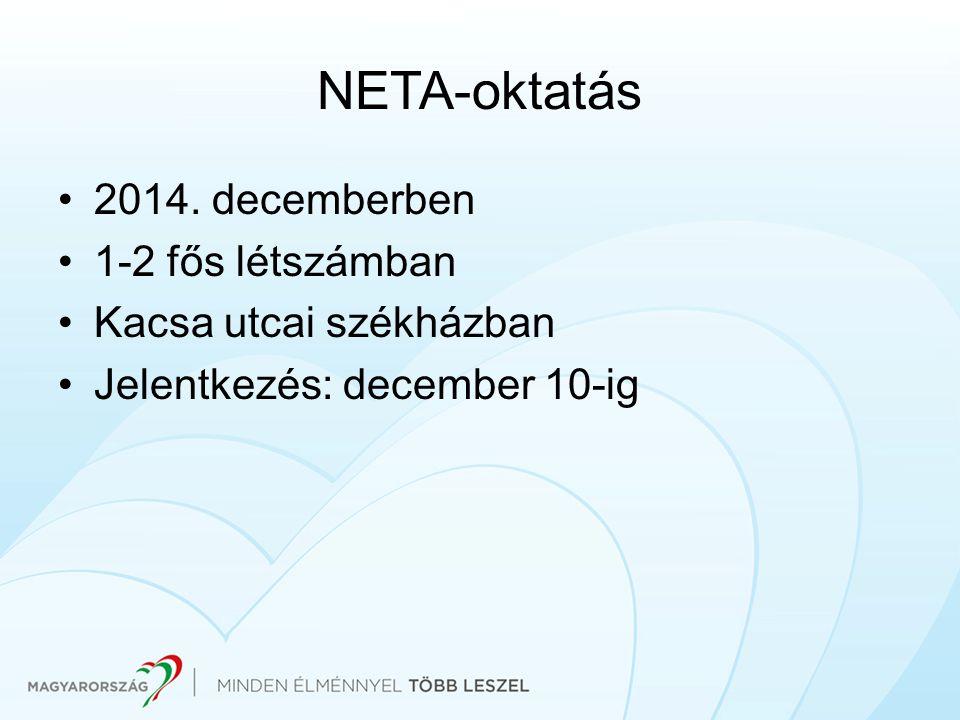 NETA-oktatás 2014. decemberben 1-2 fős létszámban