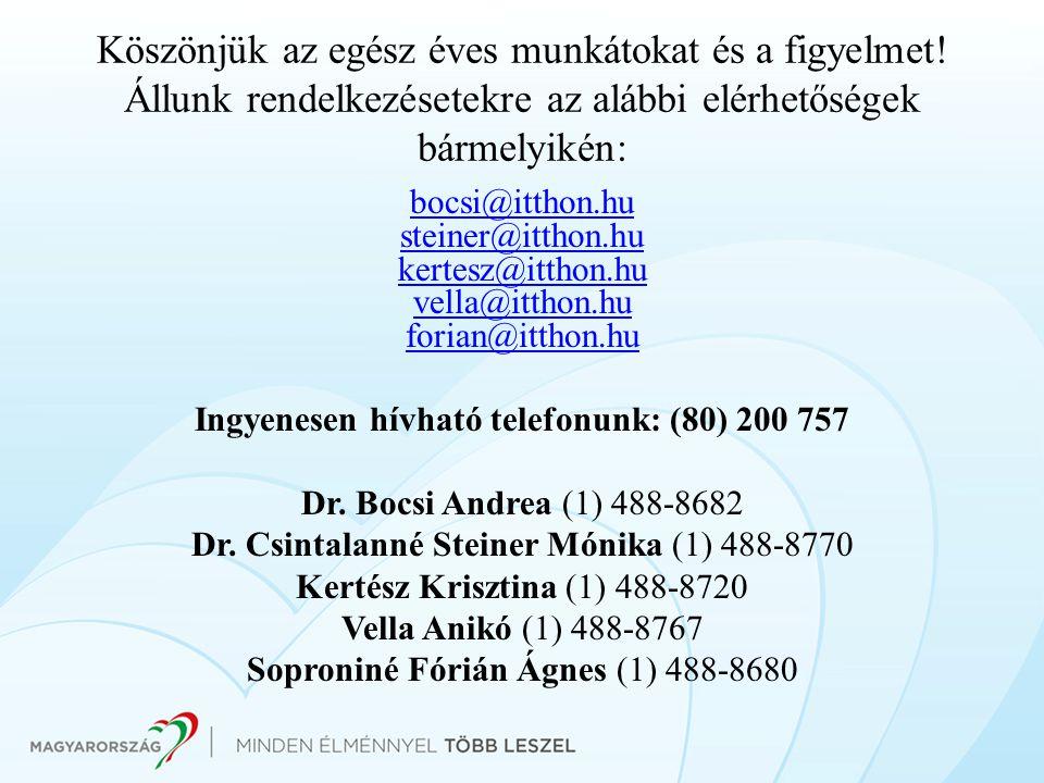 Ingyenesen hívható telefonunk: (80) 200 757