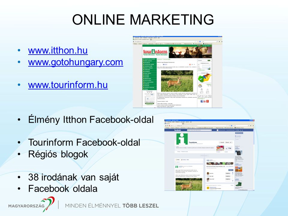 ONLINE MARKETING www.itthon.hu www.gotohungary.com www.tourinform.hu