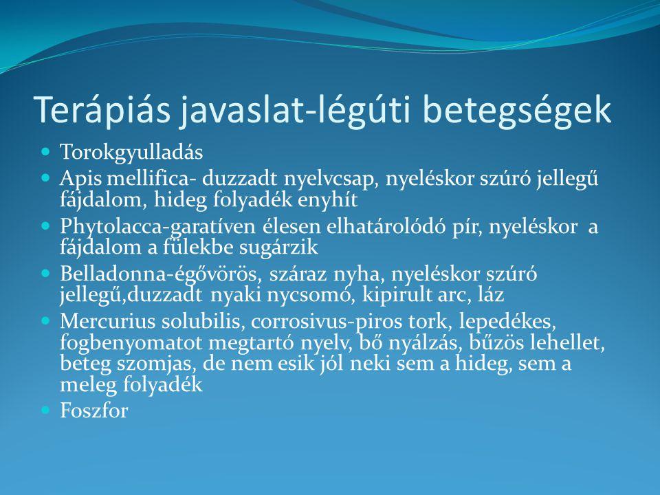 Terápiás javaslat-légúti betegségek
