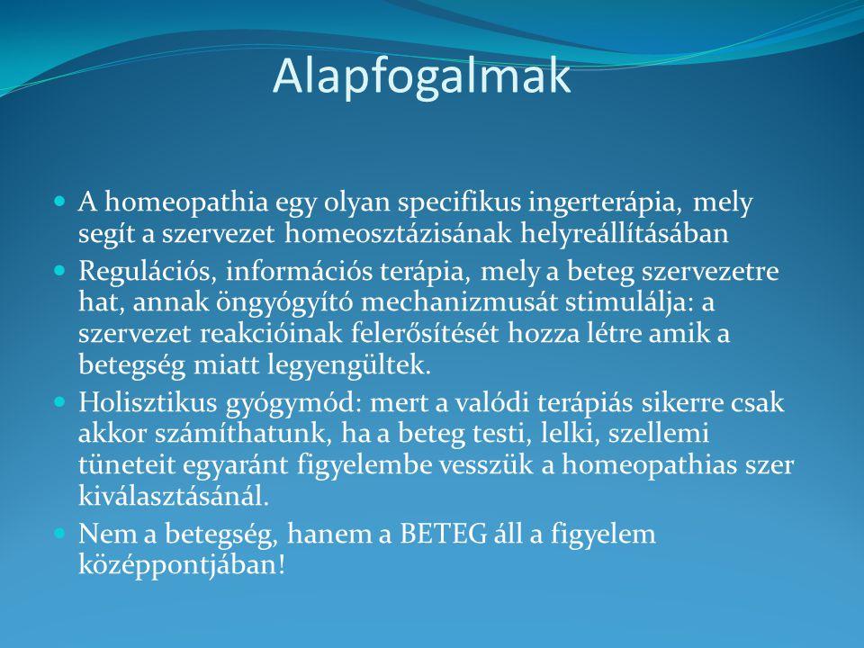 Alapfogalmak A homeopathia egy olyan specifikus ingerterápia, mely segít a szervezet homeosztázisának helyreállításában.