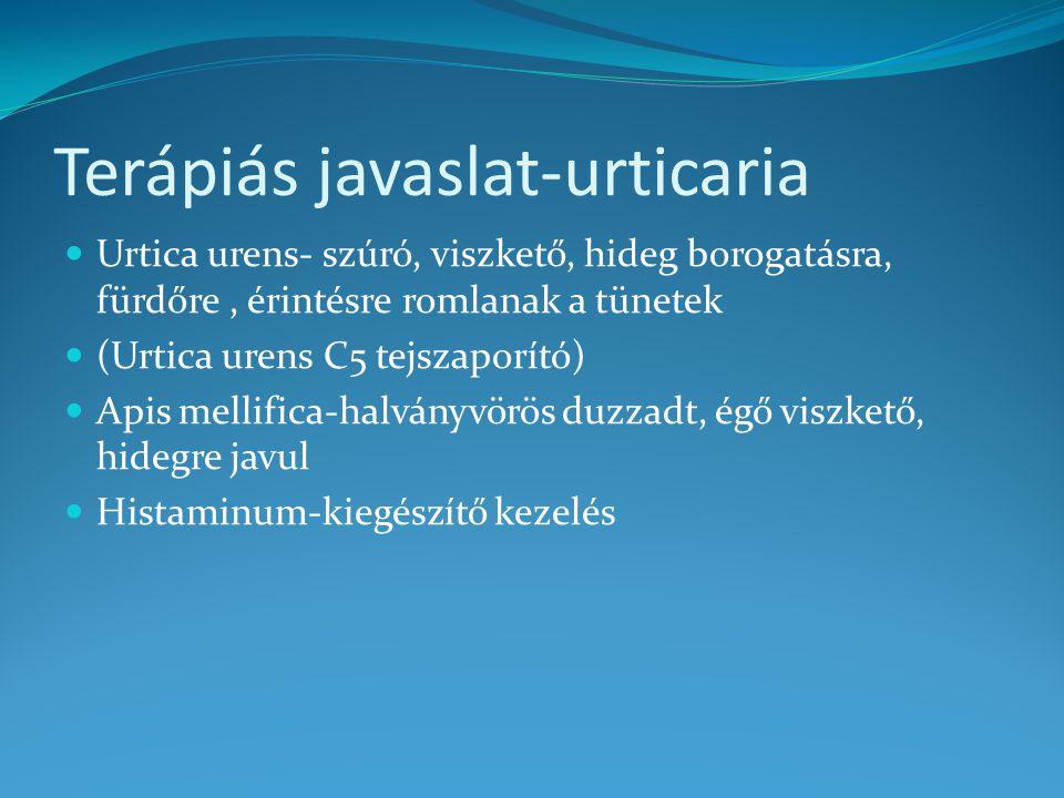 Terápiás javaslat-urticaria