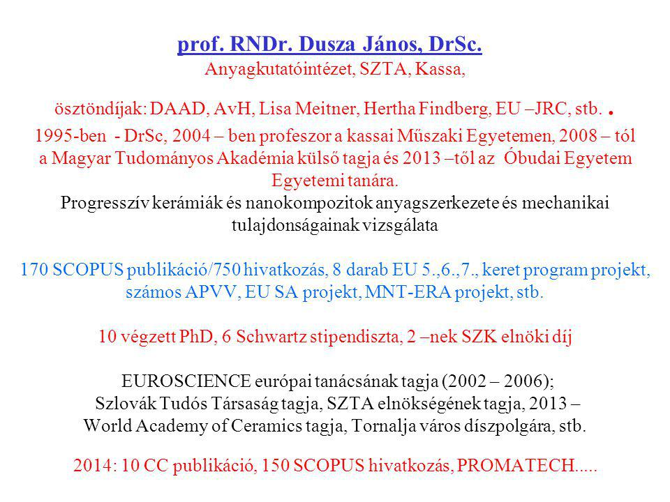 prof. RNDr. Dusza János, DrSc
