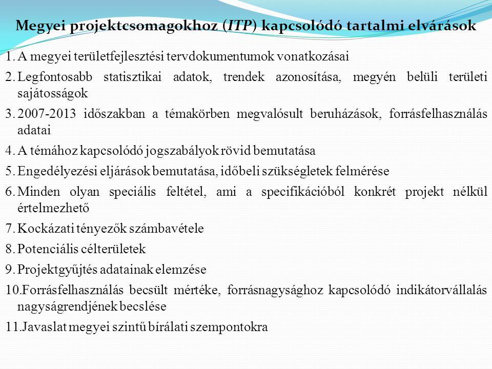 Megyei projektcsomagokhoz (ITP) kapcsolódó tartalmi elvárások