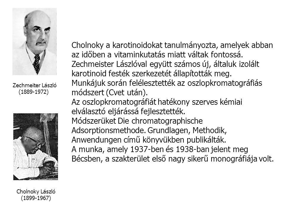 Cholnoky a karotinoidokat tanulmányozta, amelyek abban az időben a vitaminkutatás miatt váltak fontossá.