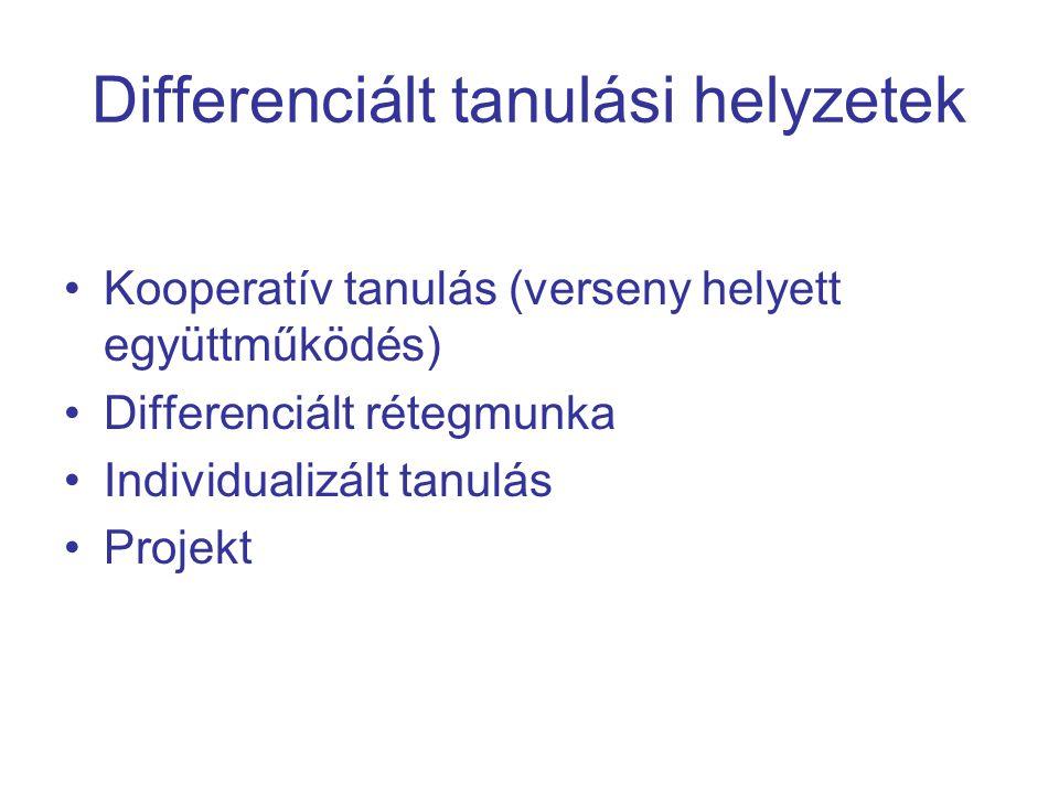 Differenciált tanulási helyzetek