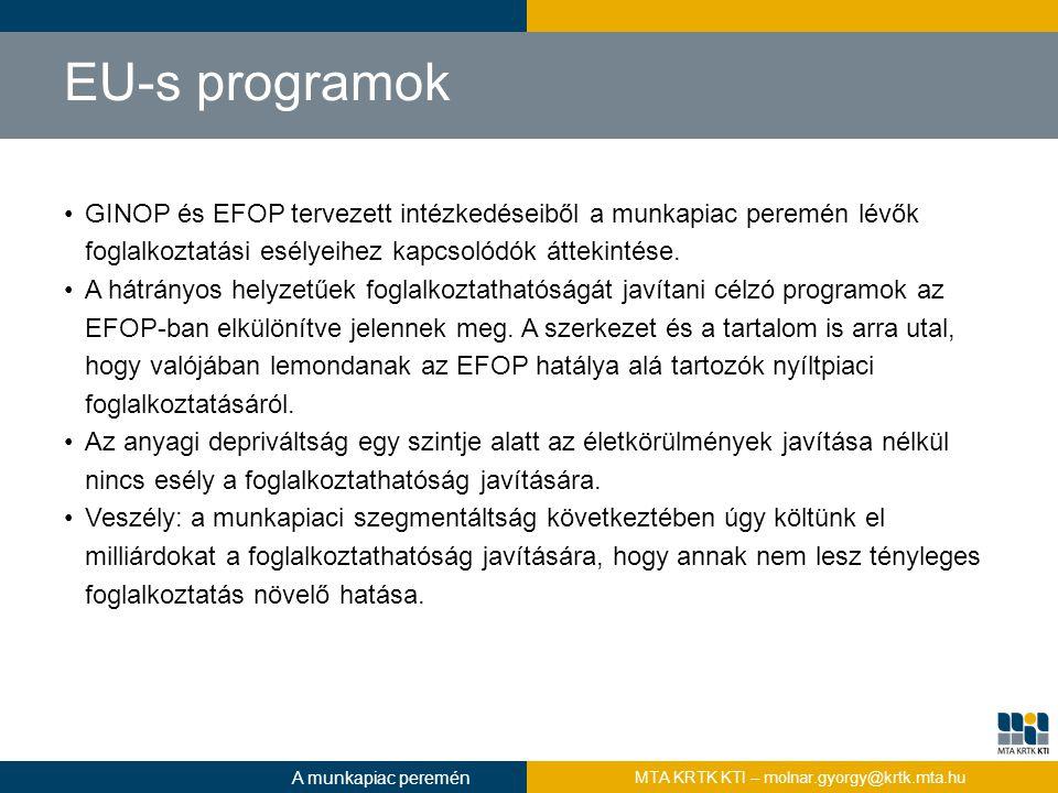 EU-s programok GINOP és EFOP tervezett intézkedéseiből a munkapiac peremén lévők foglalkoztatási esélyeihez kapcsolódók áttekintése.