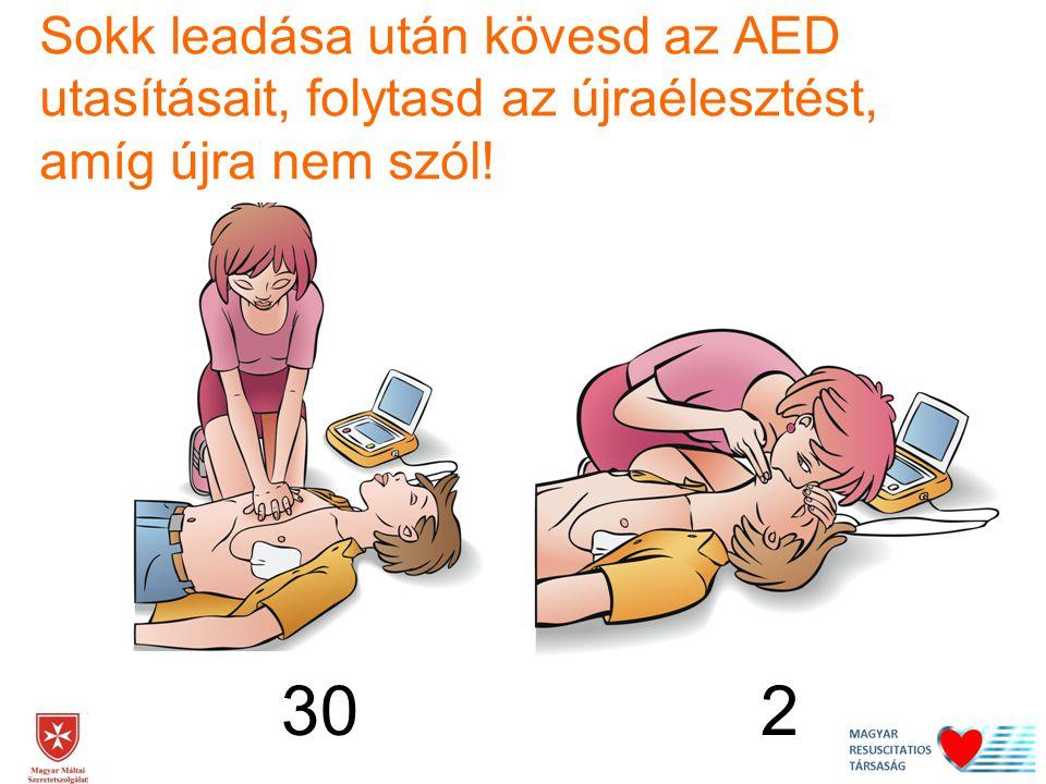 Sokk leadása után kövesd az AED utasításait, folytasd az újraélesztést, amíg újra nem szól!