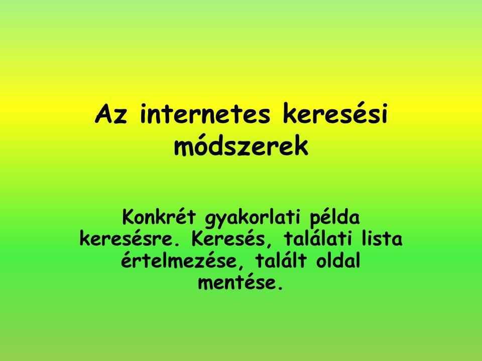 Az internetes keresési módszerek