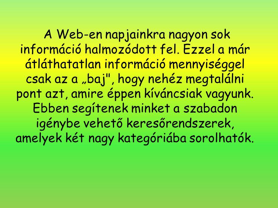 A Web-en napjainkra nagyon sok információ halmozódott fel