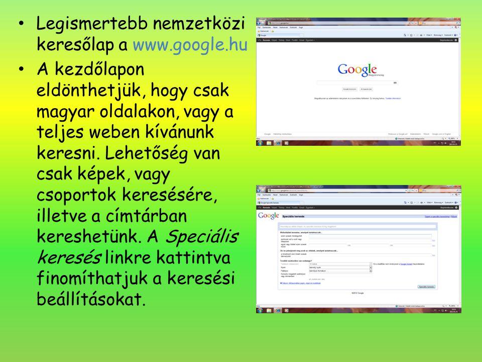 Legismertebb nemzetközi keresőlap a www.google.hu