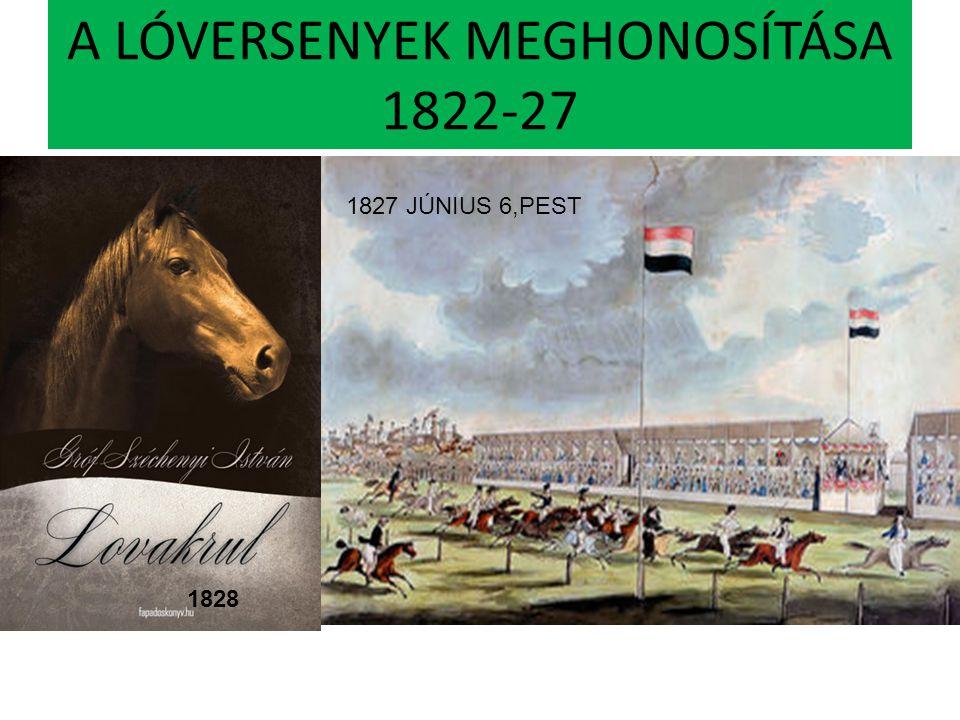 A LÓVERSENYEK MEGHONOSÍTÁSA 1822-27