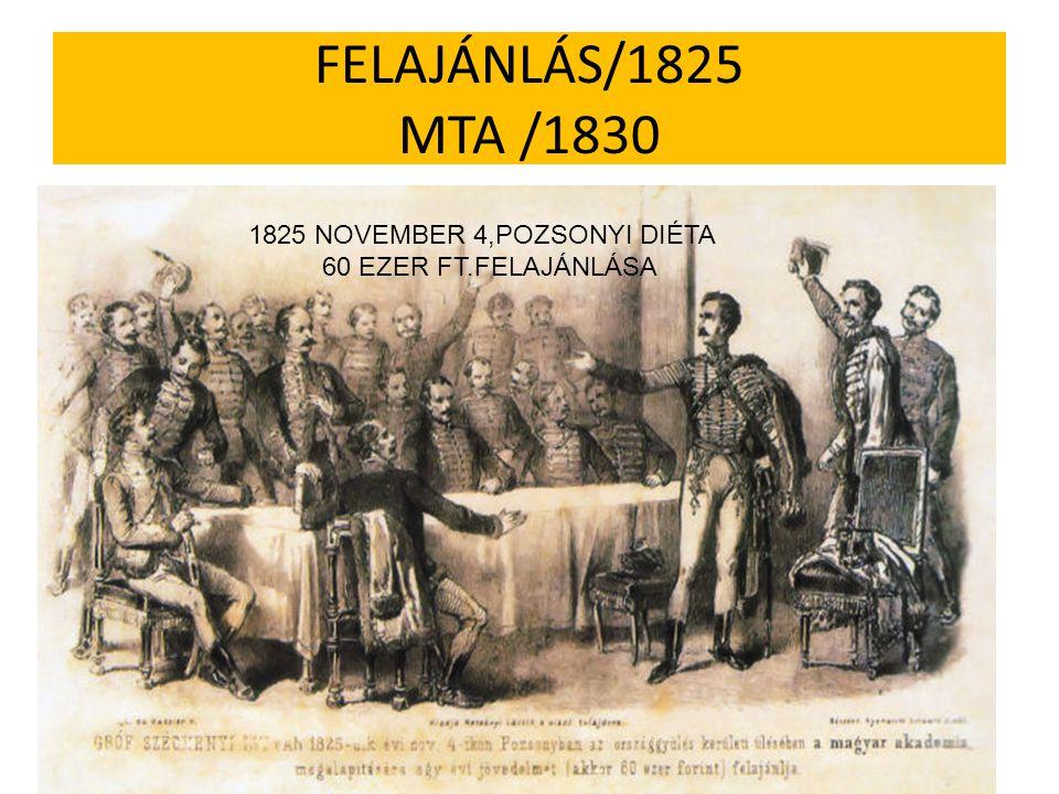 FELAJÁNLÁS/1825 MTA /1830 1825 NOVEMBER 4,POZSONYI DIÉTA