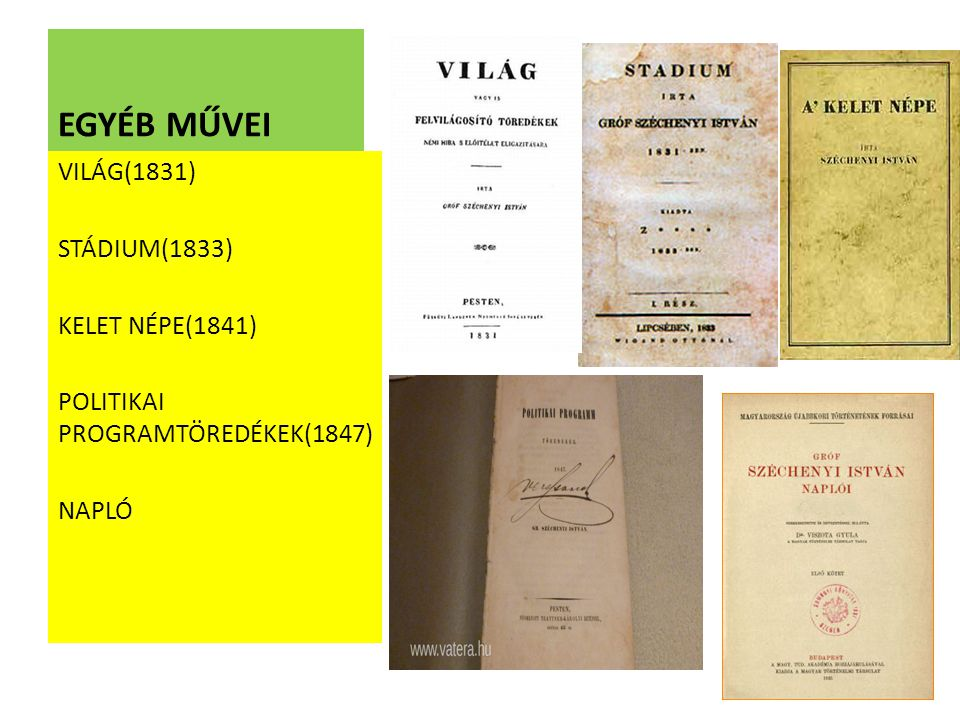 EGYÉB MŰVEI VILÁG(1831) STÁDIUM(1833) KELET NÉPE(1841)